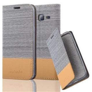 Cadorabo Hülle für Samsung Galaxy J3 2016 in HELL GRAU BRAUN - Handyhülle mit Magnetverschluss, Standfunktion und Kartenfach - Case Cover Schutzhülle Etui Tasche Book Klapp Style