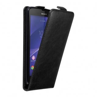 Cadorabo Hülle für Sony Xperia T3 in NACHT SCHWARZ - Handyhülle im Flip Design mit unsichtbarem Magnetverschluss - Case Cover Schutzhülle Etui Tasche Book Klapp Style