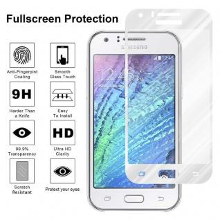 Cadorabo Vollbild Panzer Folie für Samsung Galaxy J1 2015 - Schutzfolie in TRANSPARENT mit WEISS - Gehärtetes (Tempered) Display-Schutzglas in 9H Härte mit 3D Touch Kompatibilität - Vorschau 4