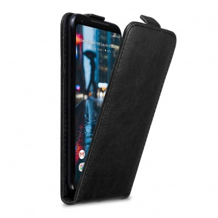Cadorabo Hülle für Google Pixel 2 XL in NACHT SCHWARZ - Handyhülle im Flip Design mit Magnetverschluss - Case Cover Schutzhülle Etui Tasche Book Klapp Style