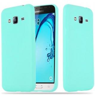Cadorabo Hülle für Samsung Galaxy J3 2015 in CANDY BLAU - Handyhülle aus flexiblem TPU Silikon - Silikonhülle Schutzhülle Ultra Slim Soft Back Cover Case Bumper
