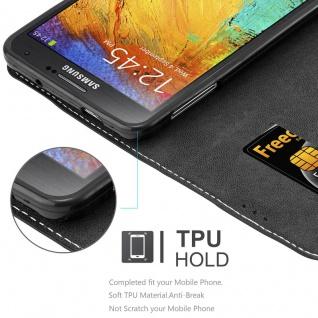 Cadorabo Hülle für Samsung Galaxy NOTE 3 in SCHWARZ BRAUN ? Handyhülle mit Magnetverschluss, Standfunktion und Kartenfach ? Case Cover Schutzhülle Etui Tasche Book Klapp Style - Vorschau 3