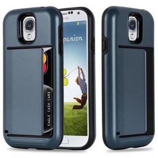 Cadorabo Hülle für Samsung Galaxy S4 - Hülle in ARMOR DUNKEL BLAU ? Handyhülle mit Kartenfach - Hard Case TPU Silikon Schutzhülle für Hybrid Cover im Outdoor Heavy Duty Design
