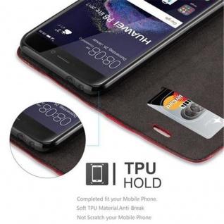 Cadorabo Hülle für Huawei P8 LITE 2017 in APFEL ROT - Handyhülle mit Magnetverschluss, Standfunktion und Kartenfach - Case Cover Schutzhülle Etui Tasche Book Klapp Style - Vorschau 3