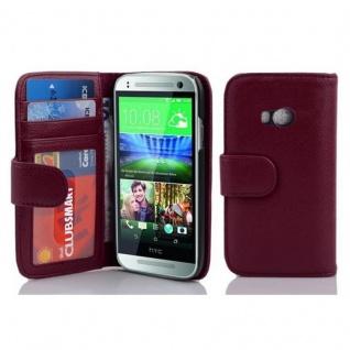 Cadorabo Hülle für HTC ONE M8 MINI (2.Gen.) in BORDEAUX LILA ? Handyhülle mit Magnetverschluss und 3 Kartenfächern ? Case Cover Schutzhülle Etui Tasche Book Klapp Style
