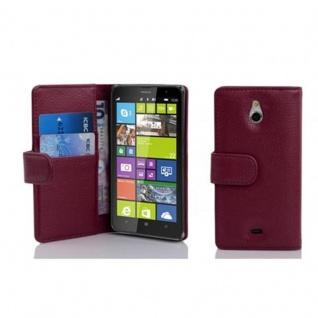 Cadorabo Hülle für Nokia Lumia 1320 in BORDEAUX LILA - Handyhülle aus strukturiertem Kunstleder mit Standfunktion und Kartenfach - Case Cover Schutzhülle Etui Tasche Book Klapp Style