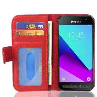 Cadorabo Hülle für Samsung Galaxy XCover 4 in INFERNO ROT ? Handyhülle mit Magnetverschluss und 3 Kartenfächern ? Case Cover Schutzhülle Etui Tasche Book Klapp Style