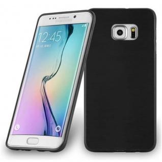 Cadorabo Hülle für Samsung Galaxy S6 EDGE PLUS - Hülle in SCHWARZ ? Handyhülle aus TPU Silikon in gebürsteter Edelstahloptik (Brushed Design) - Ultra Slim Soft Backcover Case Bumper