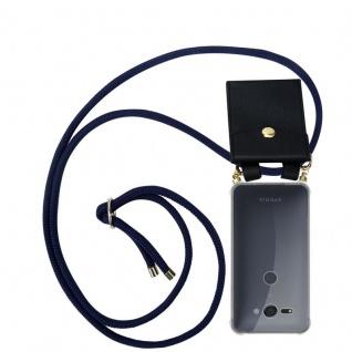 Cadorabo Handy Kette für Sony Xperia XZ2 Compact in TIEF BLAU - Silikon Necklace Umhänge Hülle mit Gold Ringen, Kordel Band Schnur und abnehmbarem Etui ? Schutzhülle