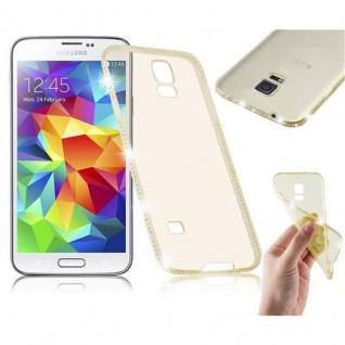 Cadorabo Hülle für Samsung Galaxy S5 / S5 NEO - Hülle in TRANSPARENT GOLD - Handyhülle aus TPU Silikon im Strass Design - Silikonhülle Schutzhülle Ultra Slim Soft Back Cover Case Bumper
