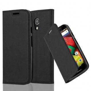 Cadorabo Hülle für Motorola MOTO G2 in NACHT SCHWARZ - Handyhülle mit Magnetverschluss, Standfunktion und Kartenfach - Case Cover Schutzhülle Etui Tasche Book Klapp Style
