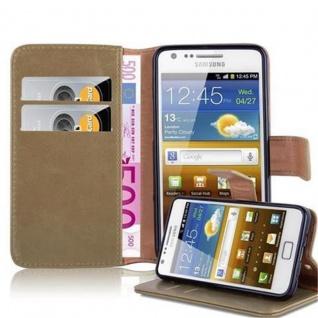 Cadorabo Hülle für Samsung Galaxy S2 / S2 PLUS in CAPPUCCINO BRAUN ? Handyhülle mit Magnetverschluss, Standfunktion und Kartenfach ? Case Cover Schutzhülle Etui Tasche Book Klapp Style