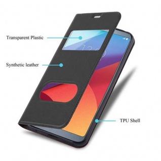 Cadorabo Hülle für LG G6 in KOMETEN SCHWARZ - Handyhülle mit Magnetverschluss, Standfunktion und 2 Sichtfenstern - Case Cover Schutzhülle Etui Tasche Book Klapp Style - Vorschau 3