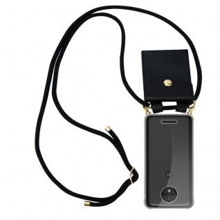 Cadorabo Handy Kette für Motorola MOTO C PLUS in SCHWARZ Silikon Necklace Umhänge Hülle mit Gold Ringen, Kordel Band Schnur und abnehmbarem Etui Schutzhülle