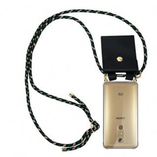 Cadorabo Handy Kette für ZTE Axon 7 in CAMOUFLAGE Silikon Necklace Umhänge Hülle mit Gold Ringen, Kordel Band Schnur und abnehmbarem Etui Schutzhülle