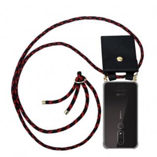 Cadorabo Handy Kette für Nokia 4.2 in SCHWARZ ROT Silikon Necklace Umhänge Hülle mit Gold Ringen, Kordel Band Schnur und abnehmbarem Etui Schutzhülle