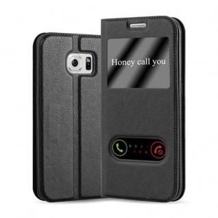 Cadorabo Hülle für Samsung Galaxy S6 EDGE in KOMETEN SCHWARZ - Handyhülle mit Magnetverschluss, Standfunktion und 2 Sichtfenstern - Case Cover Schutzhülle Etui Tasche Book Klapp Style