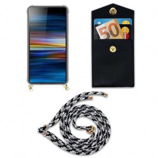 Cadorabo Handy Kette für Sony Xperia 10 PLUS in SCHWARZ CAMOUFLAGE - Silikon Necklace Umhänge Hülle mit Gold Ringen, Kordel Band Schnur und abnehmbarem Etui ? Schutzhülle - Vorschau 5