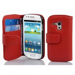 Cadorabo Hülle für Samsung Galaxy S3 MINI - Hülle in INFERNO ROT ? Handyhülle mit Kartenfach aus struktriertem Kunstleder - Case Cover Schutzhülle Etui Tasche Book Klapp Style