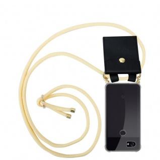 Cadorabo Handy Kette für Google Pixel 2 XL in CREME BEIGE - Silikon Necklace Umhänge Hülle mit Gold Ringen, Kordel Band Schnur und abnehmbarem Etui ? Schutzhülle