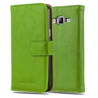 Cadorabo Hülle für Samsung Galaxy J5 2015 in GRAS GRÜN - Handyhülle mit Magnetverschluss, Standfunktion und Kartenfach - Case Cover Schutzhülle Etui Tasche Book Klapp Style