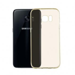 Cadorabo Hülle für Samsung Galaxy S7 EDGE - Hülle in TRANSPARENT GOLD ? Handyhülle aus TPU Silikon im Strass Design - Silikonhülle Schutzhülle Ultra Slim Soft Back Cover Case Bumper - Vorschau 3