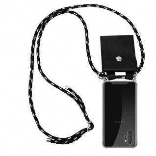 Cadorabo Handy Kette für Samsung Galaxy NOTE 10 PLUS in SCHWARZ SILBER Silikon Necklace Umhänge Hülle mit Silber Ringen, Kordel Band Schnur und abnehmbarem Etui Schutzhülle