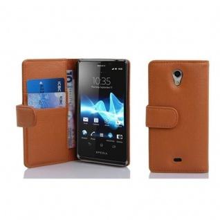 Cadorabo Hülle für Sony Xperia T in COGNAC BRAUN - Handyhülle aus strukturiertem Kunstleder mit Standfunktion und Kartenfach - Case Cover Schutzhülle Etui Tasche Book Klapp Style