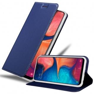 Cadorabo Hülle für Samsung Galaxy A20e in CLASSY DUNKEL BLAU - Handyhülle mit Magnetverschluss, Standfunktion und Kartenfach - Case Cover Schutzhülle Etui Tasche Book Klapp Style