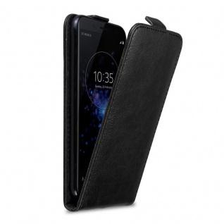 Cadorabo Hülle für Sony Xperia XZ2 COMPACT in NACHT SCHWARZ - Handyhülle im Flip Design mit Magnetverschluss - Case Cover Schutzhülle Etui Tasche Book Klapp Style