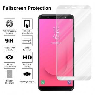 Cadorabo Vollbild Panzer Folie für Samsung Galaxy J8 2018 - Schutzfolie in TRANSPARENT mit WEISS - Gehärtetes (Tempered) Display-Schutzglas in 9H Härte mit 3D Touch Kompatibilität - Vorschau 4