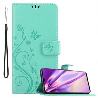Cadorabo Hülle für Huawei P30 in FLORAL TÜRKIS Handyhülle im Blumen Design mit Magnetverschluss, Standfunktion und 3 Kartenfächern Case Cover Schutzhülle Etui Tasche