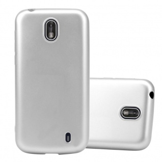 Cadorabo Hülle für Nokia 1 2017 in METALLIC SILBER - Handyhülle aus flexiblem TPU Silikon - Silikonhülle Schutzhülle Ultra Slim Soft Back Cover Case Bumper