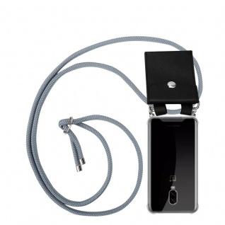 Cadorabo Handy Kette für OnePlus 6T in SILBER GRAU Silikon Necklace Umhänge Hülle mit Silber Ringen, Kordel Band Schnur und abnehmbarem Etui Schutzhülle