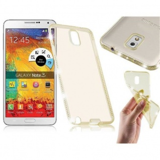 Cadorabo Hülle für Samsung Galaxy NOTE 3 - Hülle in TRANSPARENT GOLD ? Handyhülle aus TPU Silikon im Strass Design - Silikonhülle Schutzhülle Ultra Slim Soft Back Cover Case Bumper