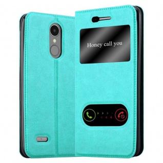 Cadorabo Hülle für LG K8 2017 in MINT TÜRKIS Handyhülle mit Magnetverschluss, Standfunktion und 2 Sichtfenstern Case Cover Schutzhülle Etui Tasche Book Klapp Style