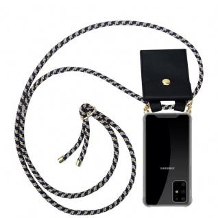 Cadorabo Handy Kette für Samsung Galaxy S20 PLUS in DUNKELBLAU GELB Silikon Necklace Umhänge Hülle mit Gold Ringen, Kordel Band Schnur und abnehmbarem Etui Schutzhülle