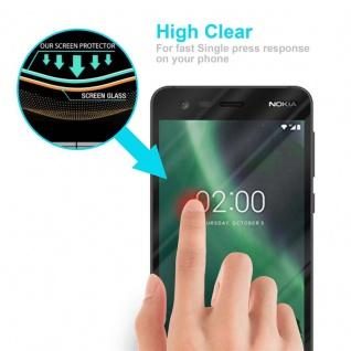 Cadorabo Vollbild Panzer Folie für Nokia 2 2017 - Schutzfolie in TRANSPARENT mit SCHWARZ - Gehärtetes (Tempered) Display-Schutzglas in 9H Härte mit 3D Touch Kompatibilität - Vorschau 5