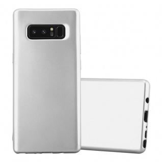 Cadorabo Hülle für Samsung Galaxy NOTE 8 in METALLIC SILBER Handyhülle aus flexiblem TPU Silikon Silikonhülle Schutzhülle Ultra Slim Soft Back Cover Case Bumper