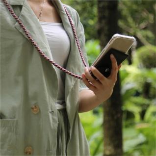 Cadorabo Handy Kette für Apple iPhone 8 PLUS / 7 PLUS / 7S PLUS in ROT GELB WEISS - Silikon Necklace Umhänge Hülle mit Silber Ringen, Kordel Band Schnur und abnehmbarem Etui - Schutzhülle - Vorschau 3