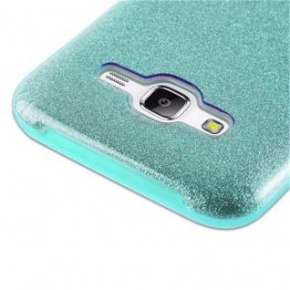 Cadorabo Hülle für Samsung Galaxy J5 2015 - Hülle in STERNENSTAUB TÜRKIS ? TPU Silikon und Hardcase Handyhülle im Glitzer Design - Hard Case TPU Silikon Schutzhülle - Vorschau 5