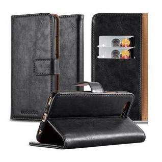 Cadorabo Hülle für Huawei P10 PLUS in GRAPHIT SCHWARZ ? Handyhülle mit Magnetverschluss, Standfunktion und Kartenfach ? Case Cover Schutzhülle Etui Tasche Book Klapp Style