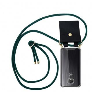 Cadorabo Handy Kette für Motorola MOTO G6 PLUS in ARMEE GRÜN Silikon Necklace Umhänge Hülle mit Gold Ringen, Kordel Band Schnur und abnehmbarem Etui Schutzhülle