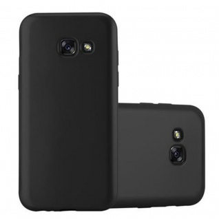 Cadorabo Hülle für Samsung Galaxy A3 2017 in METALLIC SCHWARZ - Handyhülle aus flexiblem TPU Silikon - Silikonhülle Schutzhülle Ultra Slim Soft Back Cover Case Bumper