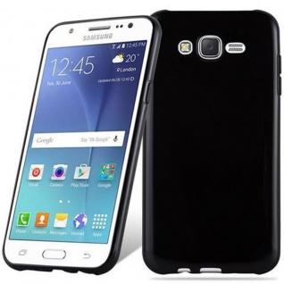 Cadorabo Hülle für Samsung Galaxy J7 2015 in SCHWARZ - Handyhülle aus flexiblem TPU Silikon - Silikonhülle Schutzhülle Ultra Slim Soft Back Cover Case Bumper