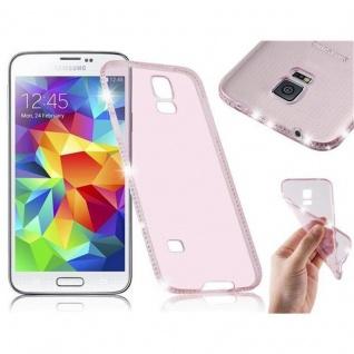 Cadorabo Hülle für Samsung Galaxy S5 / S5 NEO - Hülle in TRANSPARENT ROSA ? Handyhülle aus TPU Silikon im Strass Design - Silikonhülle Schutzhülle Ultra Slim Soft Back Cover Case Bumper