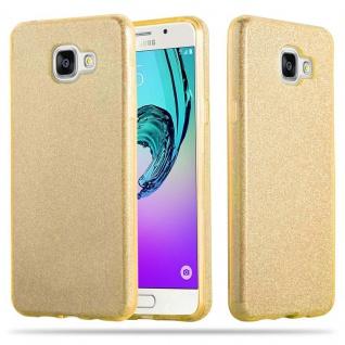 Cadorabo Hülle für Samsung Galaxy A3 2017 - Hülle in STERNENSTAUB GOLD ? TPU Silikon und Hardcase Handyhülle im Glitzer Design - Hard Case TPU Silikon Schutzhülle