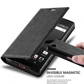 Cadorabo Hülle für Sony Xperia Z5 COMPACT in NACHT SCHWARZ - Handyhülle mit Magnetverschluss, Standfunktion und Kartenfach - Case Cover Schutzhülle Etui Tasche Book Klapp Style
