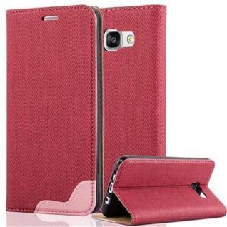 Cadorabo Hülle für Samsung Galaxy A5 2016 - Hülle in PINKY ROT ? Handyhülle in Bast-Optik mit Kartenfach und Standfunktion - Case Cover Schutzhülle Etui Tasche Book Klapp Style