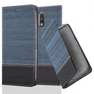 Cadorabo - Book Style Schutz-Hülle für Lenovo (Motorola) MOTO G4 PLUS case cover im Stoff - Kunstleder Design mit Kartenfach, Standfunktion und unsichtbarem Magnet-Verschluss in DUNKELBLAU-SCHWARZ